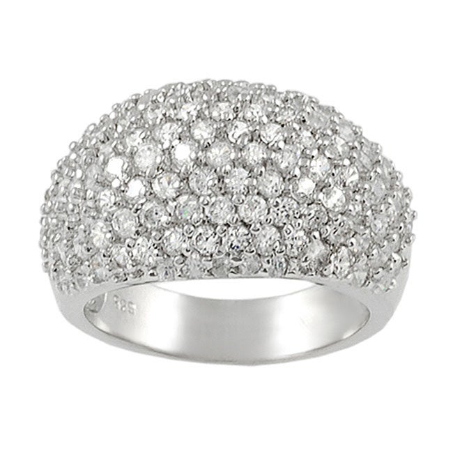 Journee Collection  Sterling Silver Pave-set Cubic Zirconia Dome Ring