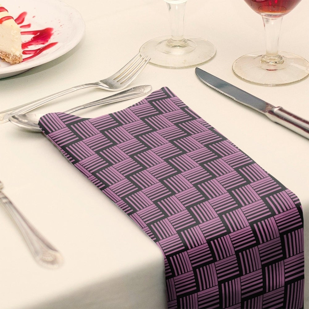 Shop Black Contrast Basketweave Stripes Napkin - Overstock - 28523590