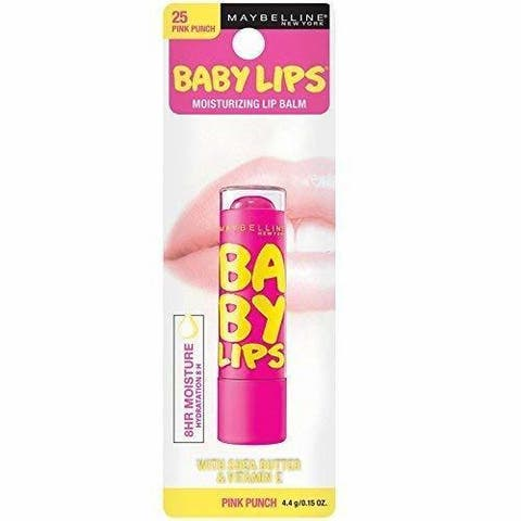 (3 Pack) Maybelline Baby Lips Moisturizing Lip Balm,Pink Punch 0.15-ounce