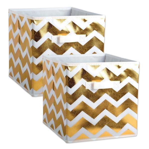 DII Nonwoven Polyester Cube Chevron White/Gold