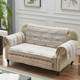 Link to The Curated Nomad San Carlos Tan Reversible Loveseat Protector Similar Items in Slipcovers & Furniture Covers