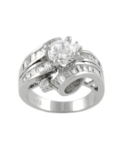 Journee Collection Sterling Silver Wrap CZ Bridal and Engagement Ring - Thumbnail 1