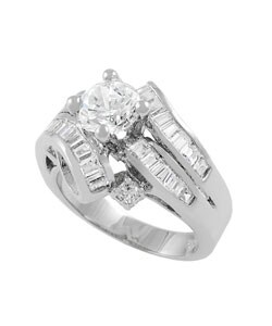 Journee Collection Sterling Silver Wrap CZ Bridal and Engagement Ring