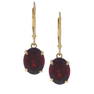 Kabella 14k Yellow Gold Oval Garnet Leverback Earrings|https://ak1.ostkcdn.com/images/products/2852500/P11033064.jpg?impolicy=medium