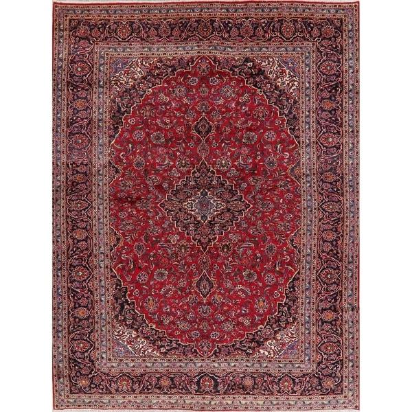 "Vintage Kashan Medallion Oriental Hand Knotted Wool Persian Area Rug - 13'4"" x 10'1"""