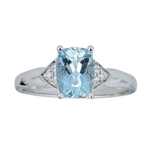 10K White Gold Aquamarine & Diamond Ring by Anika and August