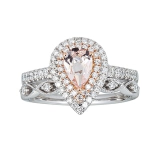 14K Two Tone Gold Morganite Diamond Ring By Anika And August White