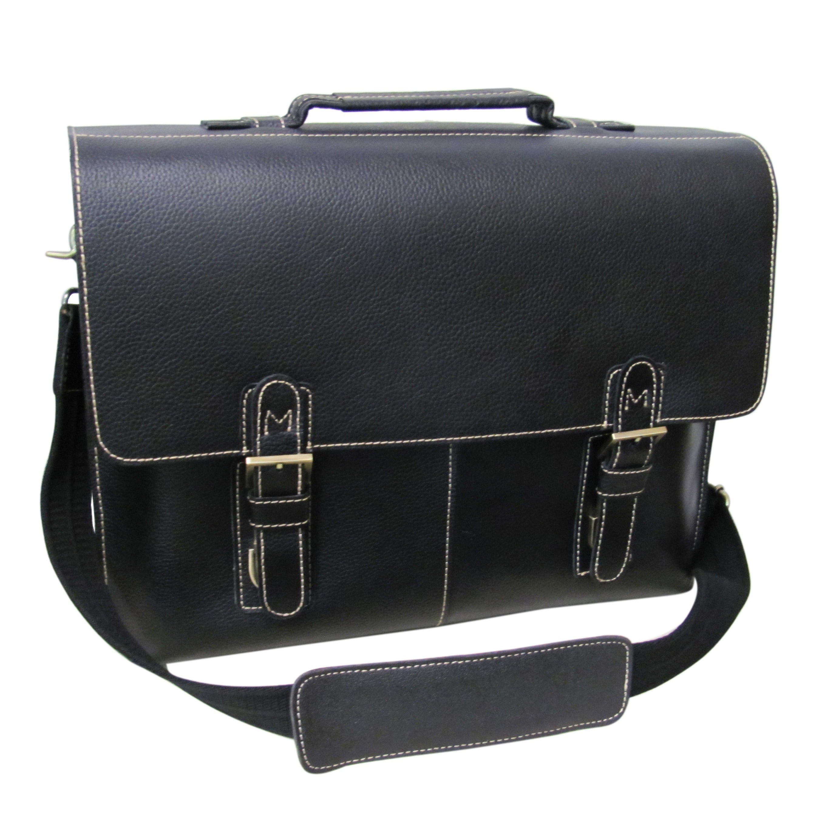 Amerileather Classic Leather Organizer Messenger Briefcas...