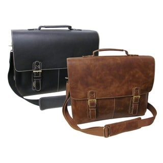 Amerileather Classic Leather Organizer Messenger Briefcase (Option: Brown)