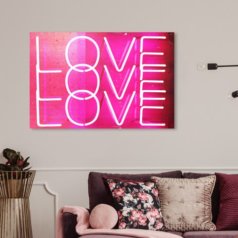 Oliver Gal 'Love Neon Lights' Typography and Quotes Wall Art Canvas Print - Pink