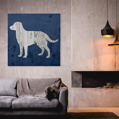 Oliver Gal 'Rustic Dog Love Denim' Animals Wall Art Canvas Print - Gray, Blue
