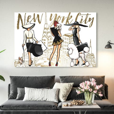 Oliver Gal 'NYC Girls and Pups' Fashion and Glam Wall Art Canvas Print - Gold, White