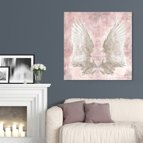 Oliver Gal 'Chie's Freedom Wings ' Fashion and Glam Wall Art Canvas Print - Pink, White
