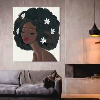 Link to Oliver Gal 'Flowers in My Hair' People and Portraits Wall Art Canvas Print - Black, White Similar Items in Art Prints