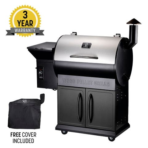 Z Grill ZPG-700E 8 in 1 Pellet Grill &' Storage Cabinet Silver & Black