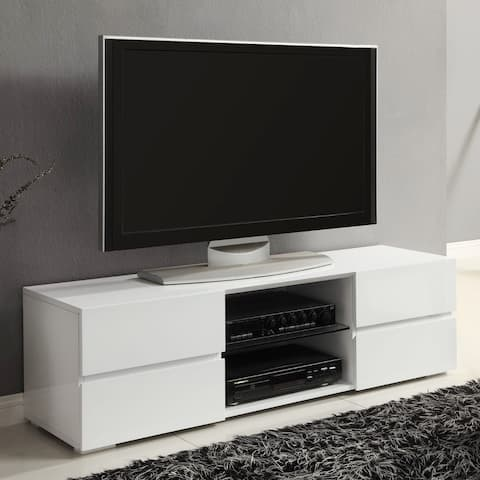 Modern Design Glossy White Entertainment Center TV Console with Drawers