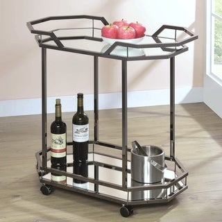 Modern Chic Design Black Nickel and Mirrored Glass Serving Cart