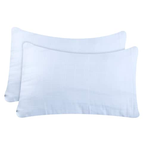 Just Linen 300 Thread Count 100% Cotton Genuine Jacquard Damask, White Checks, Pack of 4 Queen Pillow Cases