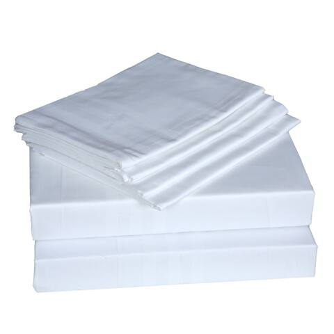 400 TC 100% Egyptian Quality Cotton Sateen,Queen Bedding 6 Piece Sheet Set with Extra Deep Pocketed Fitted Sheet