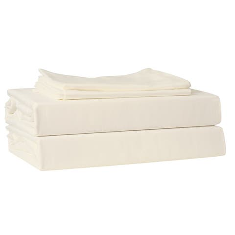 210 TC 100% Cotton Percale, King Bedding 4 Piece Sheet Set with Extra Deep Pocketed Fitted Sheet