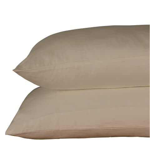Just Linen 400 Thread Count 100% Egyptian Quality Cotton Sateen, Solid Warm Sand Color, Pack Of 4 Queen Pillow Cases