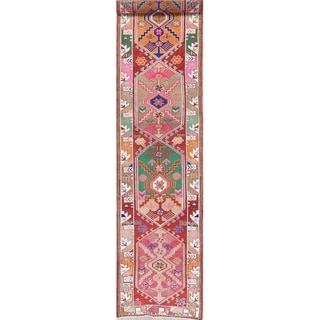 "Vegetable Dye Oushak Tribal Oriental Hand Knotted Wool Turkish Rug - 12'10"" x 2'10"" Runner"