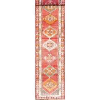 "Vegetable Dye Oushak Oriental Hand Knotted Wool Turkish Rug - 12'11"" x 2'10"" Runner"