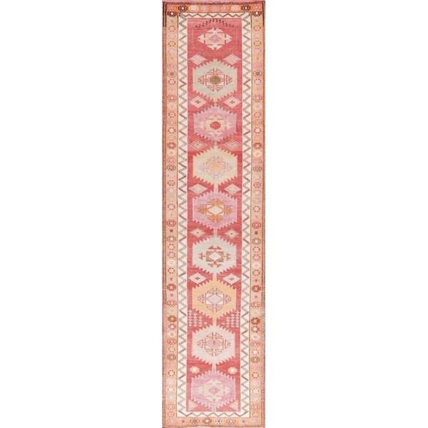 "Oushak Oriental Hand Knotted Wool Turkish Rug - 10'6"" x 2'7"" Runner"
