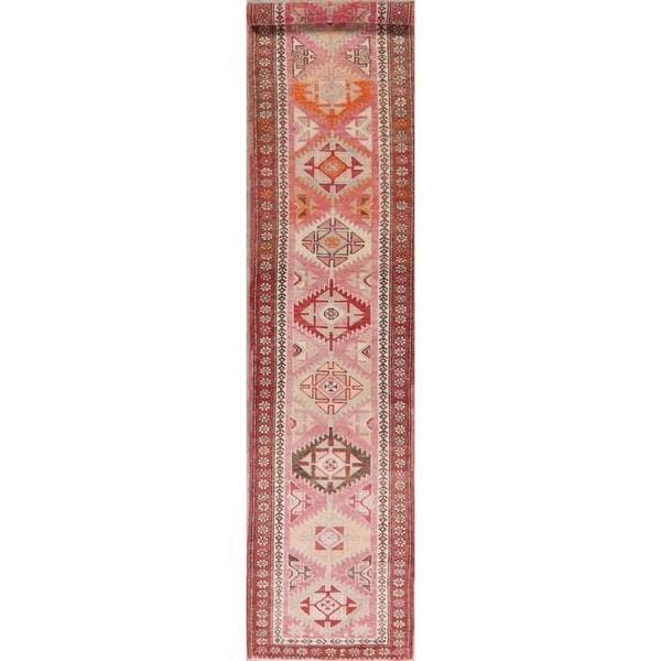 "Vegetable Dye Oushak Oriental Hand Knotted Wool Turkish Rug - 12'10"" x 2'7"" Runner"