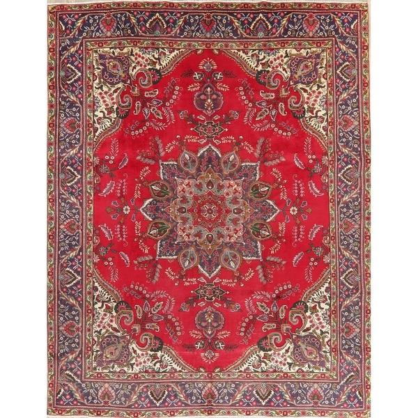 "Vintage Tabriz Medallion Oriental Hand Knotted Wool Persian Area Rug - 12'10"" x 9'10"""