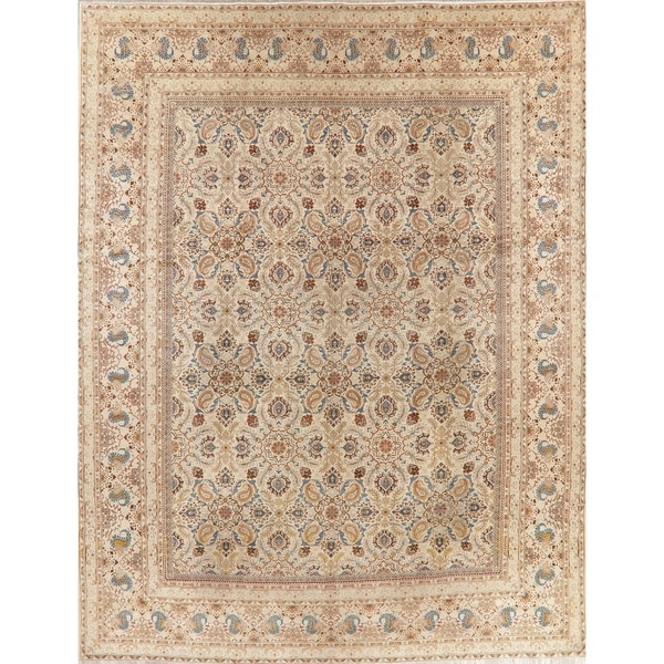 """Antique Kashan Oriental Hand Knotted Wool Persian Area Rug - 13'3"""" x 10'6"""""""