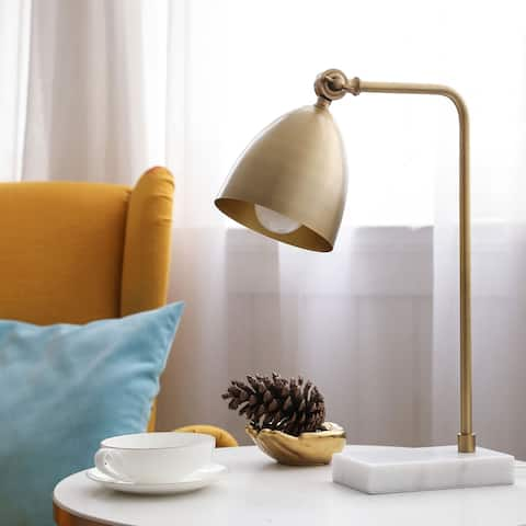 CO-Z 18.3-inch Gold Desk Lamp with Marble Base and Adjustable Metal Shade
