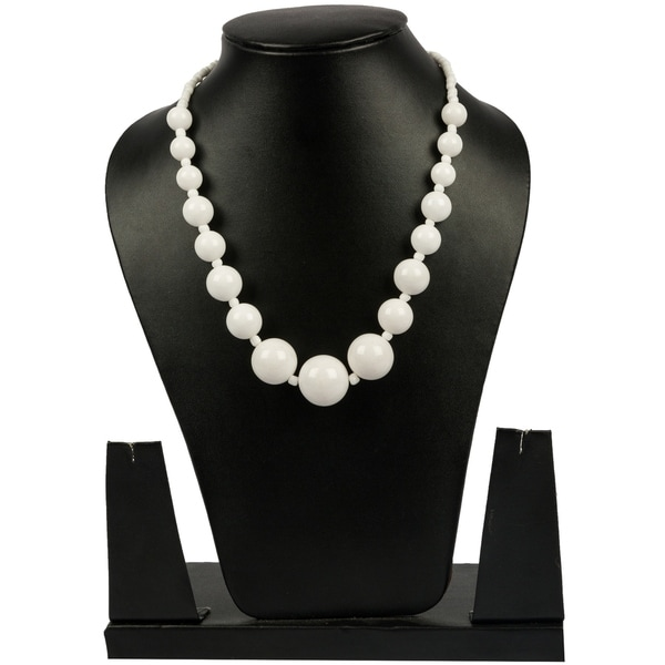 Genuine White Agate Graduating Beads Necklace By Gempro