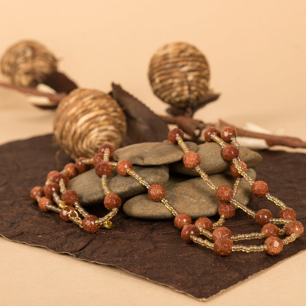 Shop Genuine Sandstone Faceted Beads Necklace by Gempro - Overstock - 28526800