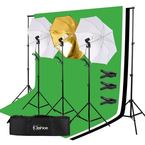 5x10ft 45W Portrait Photography Backdrop Stand Umbrella Lighting Kit Light Bulb - Size-5 x 10 ft