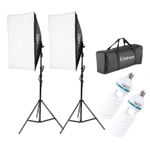 5500K Photo Studio Video Photographic Soft Light Box Set with 2 135W Bulbs