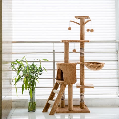 Kinbor Cat Tree Condo Cat Tower Kitten Furniture Play House with Catnip Play Ball