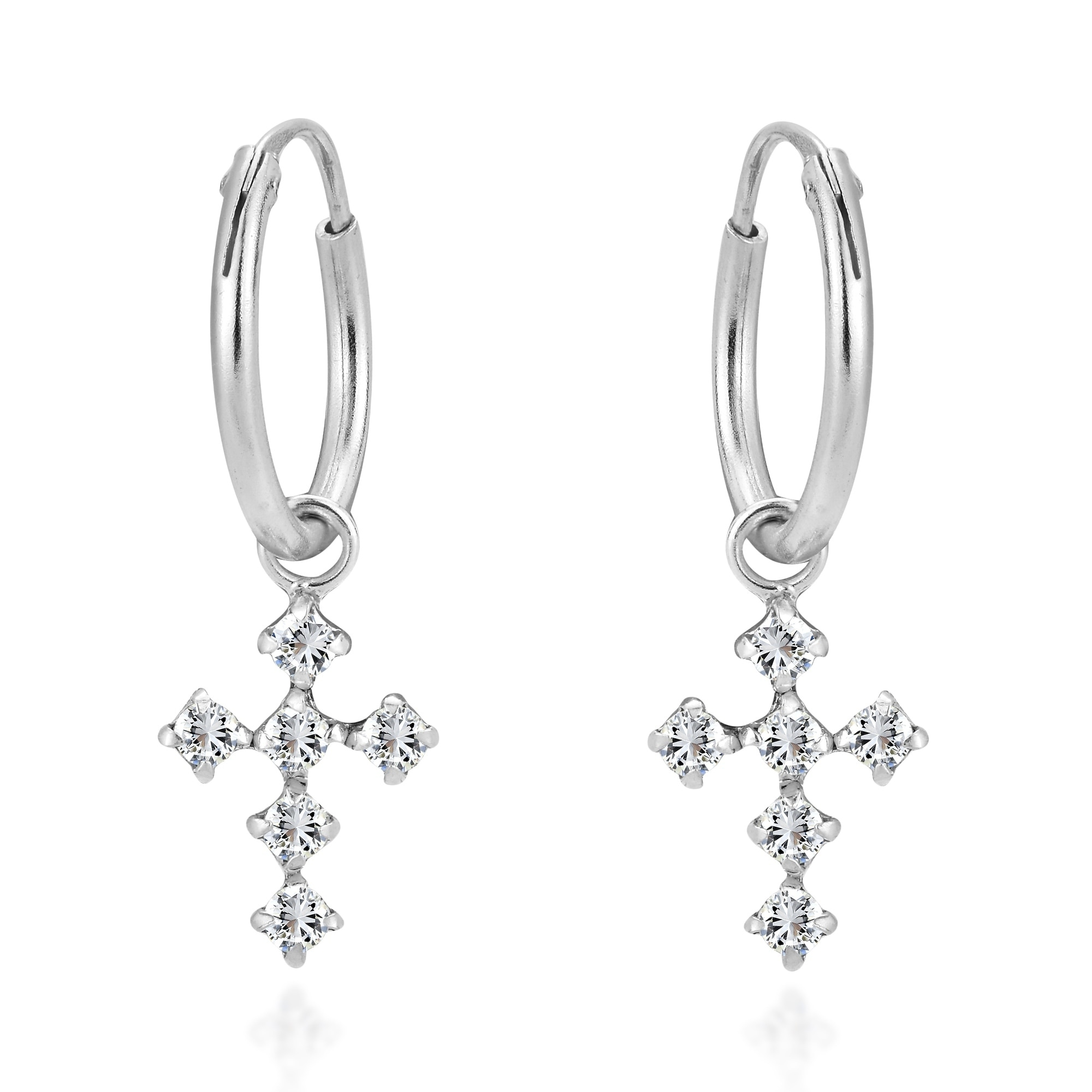 925 Sterling Silver Rhodium-plated Polished CZ Cross Hoop Earrings