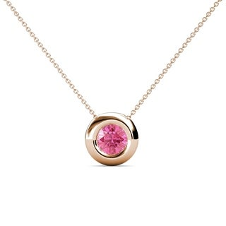 TriJewels Pink Tourmaline Bezel Solitaire Pendant 0 40ct 16 14KR Gold