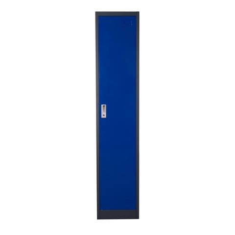 Metal Storage Locker Cabinet with Key Lock Entry, Blue and Gray