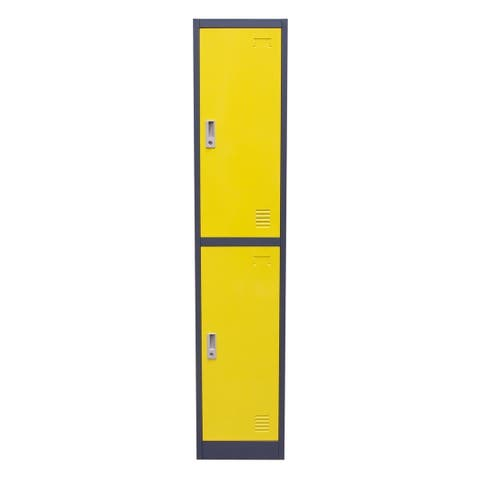 Metal Storage Locker Cabinet with Two Storage Compartments and Key Lock Entry, Yellow and Gray