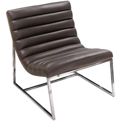 Leather Upholstered Lounge Chair with Channel Tufting Details and Steel Frame, Brown and Silver