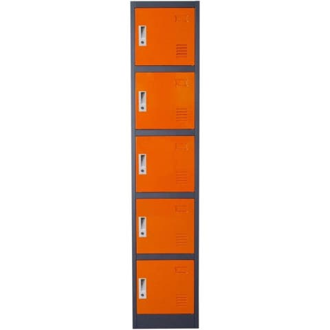 Metal Storage Locker Cabinet with Five Storage Compartments and Key Lock Entry, Orange and Gray