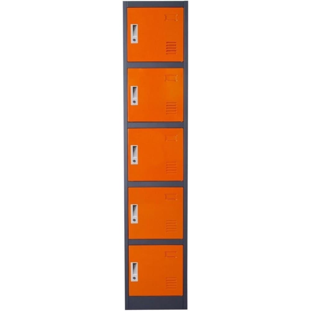 Metal Storage Locker Steel Locker Metal Cabinet Tall 5 Compartments 10 Keys Grey