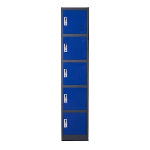 Metal Storage Locker Cabinet with Five Storage Compartments and Key Lock Entry, Blue and Gray