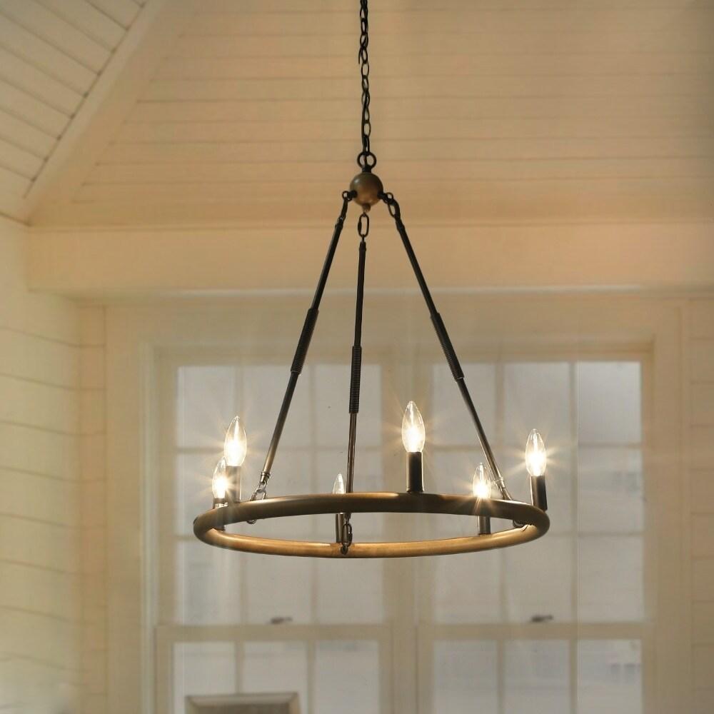 The Gray Barn Flying Turtle 6 Light Pendant Rustic Iron Chandelier