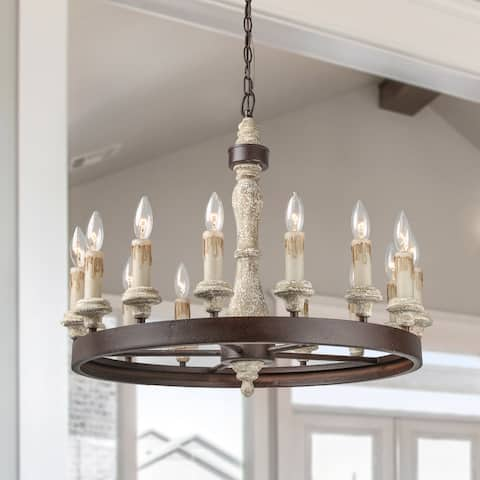 The Gray Barn Ingleside 15-light French Country Chandeliers Wood Chandelier Lighting