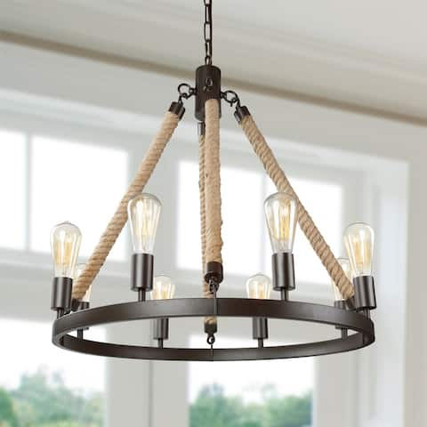 "The Gray Barn Flying Turtle Retro Wagon Wheel Chandeliers 8-light Kitchen Island Pendant - D27.75""x H42.5"""
