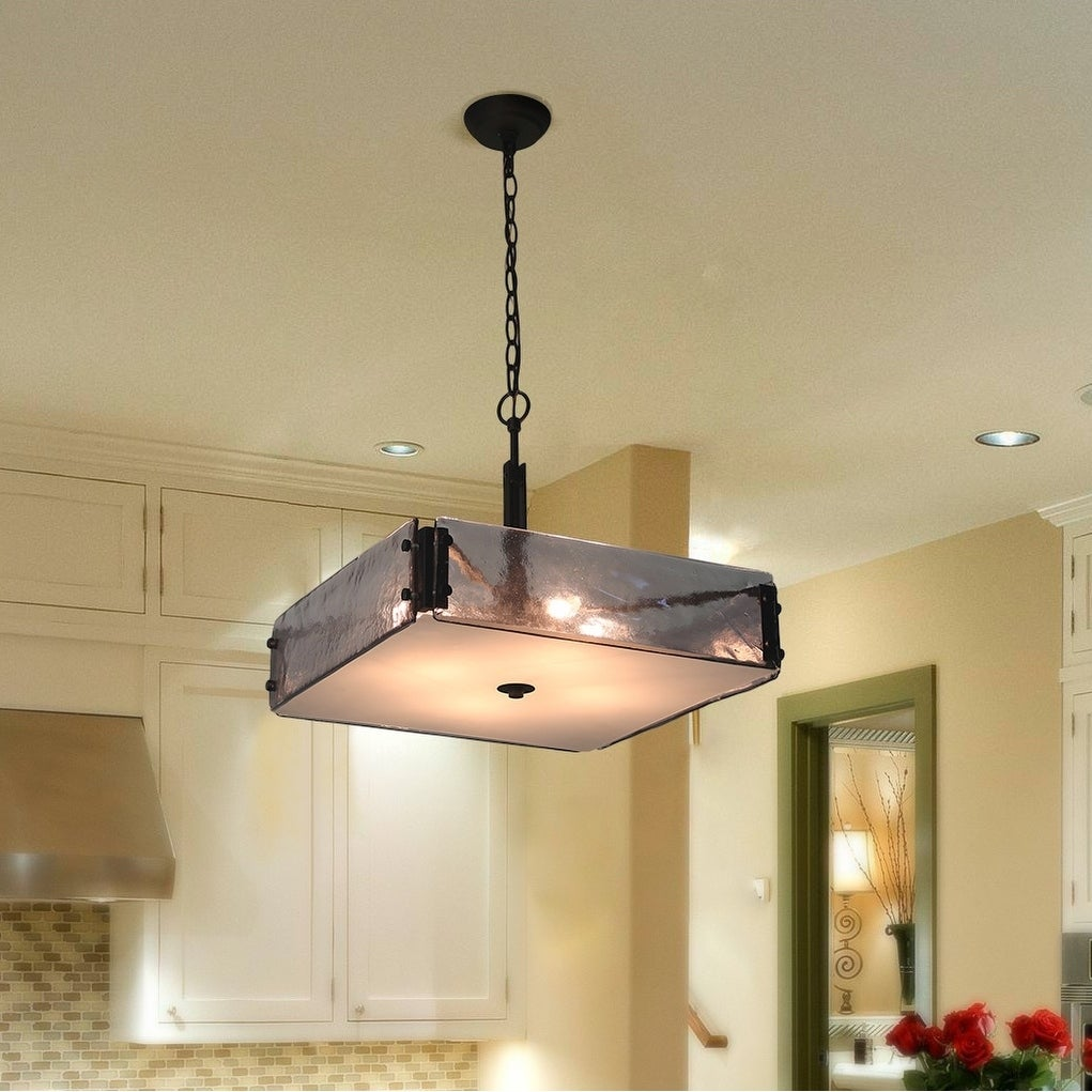 The Gray Barn Flying Turtle 4 Light Gl Pendant Square Indoor Ceiling