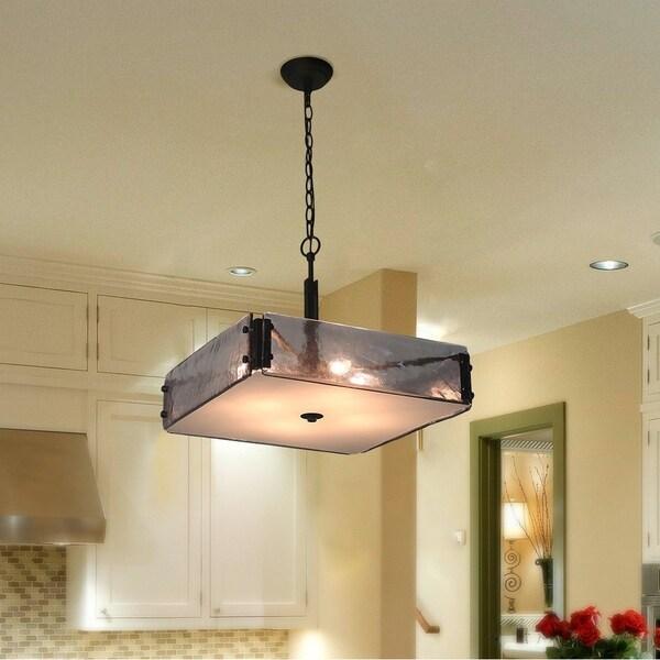 4 Light Gl Pendant Lighting Square Indoor Ceiling Lights E12